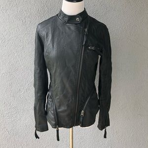 ABS Faux Leather Jacket with Zipper Details
